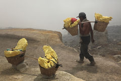 Sulphur mines Kawah Ijen in East Java, Indonesia Royalty Free Stock Image