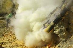 Sulphur mines Kawah Ijen in East Java, Indonesia Stock Photos