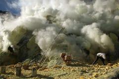 Sulphur mines Kawah Ijen in East Java, Indonesia Royalty Free Stock Photo