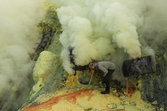 Sulphur mines Kawah Ijen in East Java, Indonesia Stock Photography