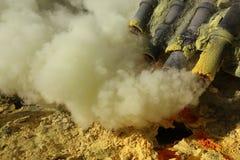 Sulphur mines at Kawah Ijen, East Java, Indonesia Stock Photos