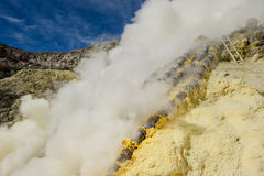 Sulphur mining, Kawah Ijen, Java, Indonesia Royalty Free Stock Image