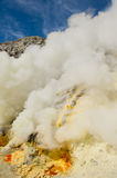 Sulphur mining, Kawah Ijen, Java, Indonesia Royalty Free Stock Photos