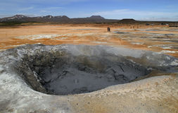 Sulphur mud hole in Hverir, Iceland. Huge sulphur mud hole in Hverir, near lake Mývatn, Iceland Royalty Free Stock Image