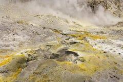 Sulphur on rocks on White Island Royalty Free Stock Image