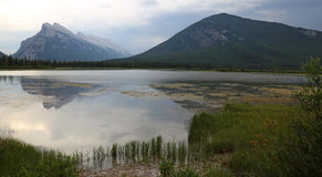 Sulphur and Rundle. Mount Rundle and Sulphur Mountain reflecting in the the Vermilion lakes.  Located in Banff National Park, Alberta, Canada Stock Images
