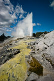 Sulphur and silica geothermal deposits and geyser Royalty Free Stock Photos