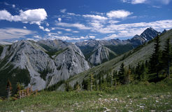 Sulphur Skyline hike. In Jasper National Park, Canada, is a strenuous uphill hike. But the view of saw-toothed mountain ranges and remote wilderness valleys is Stock Photography