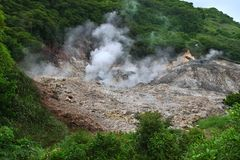 Sulphur Springs - Saint Lucia. View of the Sulphur Springs Drive-in Volcano near Soufriere, Saint Lucia Stock Photo