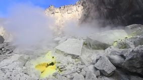 Sulphur vent on Volcano stock video