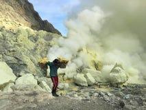 Sulphurgruvarbetare på den Ijen krater, Indonesien Arkivbild