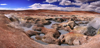 Sulphuric acid pools - Altiplano Bolivia. This panoramic photo was taken in the Altiplano (spanish for high plane)Atacama desert, southern Bolivia. The unusual Stock Photo