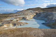Sulphurous lake in volcanic area in Iceland Royalty Free Stock Photos