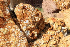 Sulphurous rocks Royalty Free Stock Image