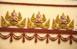 Sulpturedesignen av den Saket templet är en forntida buddistisk tempel i Vientiane Royaltyfri Fotografi