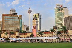 Sultan Abdul Samad  building. The clock tower of the Sultan Abdul Samad Building in Kuala Lumpur Malaysia. At the backgrund, the KL Tower can be seen. The Sultan Stock Image