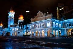 Sultan Abdul Samad Building bij nacht stock foto's