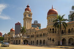 Sultan Abdul Samad Building in Kuala Lumpur. Beautiful palace in Kuala Lumpur center and the road Royalty Free Stock Images