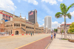 The Sultan Abdul Samad building, Kuala Lumpur, Malaysia. KUALA LUMPUR, MALAYSIA - AUGUST 14, 2016: The Sultan Abdul Samad building is located in front of the Royalty Free Stock Image
