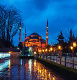 Sultan Ahmed Blue Mosque at night. Istanbul, Turkey Stock Images
