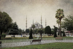 Sultan Ahmed Mosque (Blue Mosque) grunge style. Stock Images