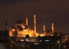 Sultan Ahmed Mosque a Costantinopoli alla notte Fotografie Stock Libere da Diritti