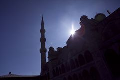 Silhouettes of Blue Mosque, Istanbul Turkey Stock Image