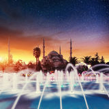 Sultan Ahmed Mosque Illuminated Stock Photography