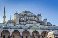 Sultan Ahmed Mosque, Istanbul. The Sultan Ahmed Mosque known as the Blue Mosque is an historic mosque in Istanbul, Turkey. View from inner courtyard Stock Image