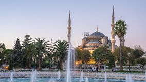 Sultan Ahmed Mosque night to day time lapse in Istanbul, Turkey stock footage