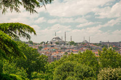 The Sultan Ahmed Mosque or Sultan Ahmet Mosque. (Turkish: Sultan Ahmet Camii) is a historic mosque located in Istanbul, Turkey's Historic Centre. A popular Stock Image