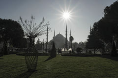 Sultan Ahmed Mosque view from the Sultanahmet Park in Istanbul, Royalty Free Stock Images