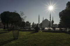 Sultan Ahmed Mosque view from the Sultanahmet Park in Istanbul, Turkey. Royalty Free Stock Photography