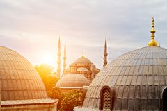 Ramadan exterior features domes minarets Ottoman architecture Istanbul, Turkey. Sultan Ahmet or Blue Mosque landmark, Ottoman ramadan architecture Istanbul royalty free stock photography