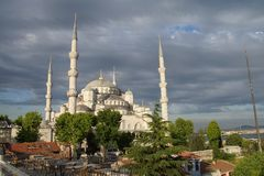 Sultan Ahmet Camii ( Blue Mosque ) glows in early evening light Stock Image