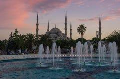 Sultan Ahmet Mosque auf Sonnenuntergang Lizenzfreie Stockfotos