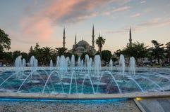 Sultan Ahmet Mosque auf Sonnenuntergang Stockbild