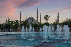 Sultan Ahmet Mosque en puesta del sol Imagen de archivo libre de regalías