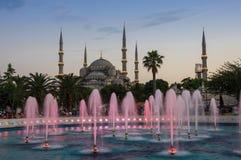 Sultan Ahmet Mosque en puesta del sol Imágenes de archivo libres de regalías
