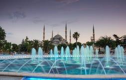 Sultan Ahmet Mosque en puesta del sol Fotografía de archivo libre de regalías