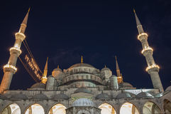 Sultan Ahmet Mosque in the night. Sultan Ahmet Mosque  is a historic mosque in Istanbul, Turkey. The mosque is popularly known as the Blue Mosque for the blue Royalty Free Stock Photography