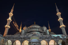 Sultan Ahmet Mosque in the night. Sultan Ahmet Mosque is a historic mosque in Istanbul, Turkey. The mosque is popularly known as the Blue Mosque for the blue Royalty Free Stock Photo