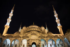 Sultan ahmet mosque at night. The imperial ottoman mosque of sultan ahmet in istanbul, turkey at night royalty free stock image