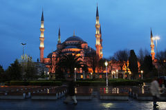 Sultan ahmet mosque at night. The ottoman sultan ahmet mosque (blue mosque) at night in istanbul, turkey stock images