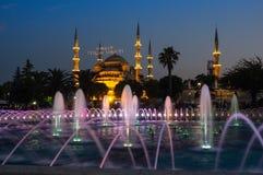 Sultan Ahmet Mosque op zonsondergang Stock Afbeelding