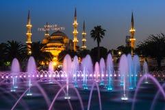 Sultan Ahmet Mosque op zonsondergang Stock Fotografie