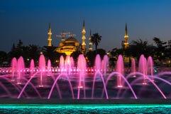 Sultan Ahmet Mosque op zonsondergang Stock Foto