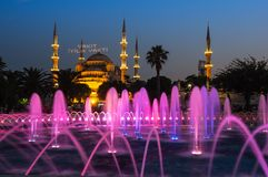 Sultan Ahmet Mosque on sunset. Sultan Ahmet Mosque  is a historic mosque in Istanbul, Turkey. The mosque is popularly known as the Blue Mosque for the blue tiles Stock Photography