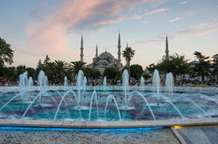 Sultan Ahmet Mosque on sunset Royalty Free Stock Image