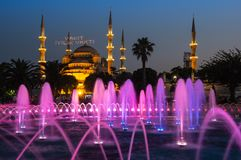 Sultan Ahmet Mosque on sunset. Sultan Ahmet Mosque  is a historic mosque in Istanbul, Turkey. The mosque is popularly known as the Blue Mosque for the blue tiles Royalty Free Stock Photo